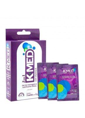 Lubrificante Íntimo K-MED 2 em 1 - Caixa 3 Sachês