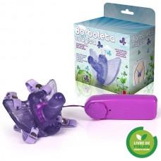 Estimulador Feminino Borboleta Mágica com Mini Pênis Lilás