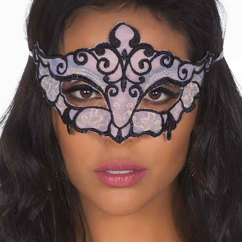 Máscara Sensual Rendada Branca